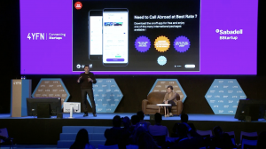 Stephanie Hospital and Taig Khris on the Banco Sabadell Stage at 4YFN
